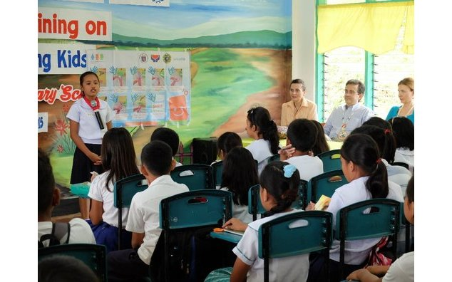 "Hygiene awareness activity entitled ""Kids teaching Kids"" organized through the support of ACTED at a local elementary school"