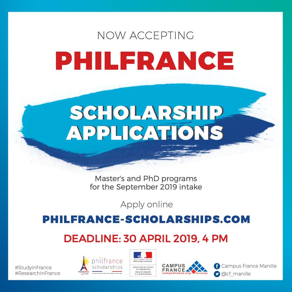 PhilFrance Scholarships for A Y  2019-2020 - La France aux